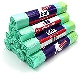 200 Müllbeutel/Mülltüten/Müllsäcke mit Zugband, 60 Liter, 20 Stück pro Rolle, 63x74 cm, Reißfest & Flüssigkeitsdicht (10 Rollen)