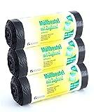 3x 40 Müllbeutel schwarz mit Zugband 20l - Reißfest und flüssigkeitsdicht