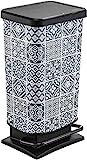 Rotho Paso Mülleimer 40l mit Pedal und Deckel, Kunststoff (PP) BPA-frei, tiles, 40l (35,3 x 29,5 x 67,6 cm)