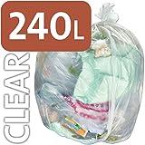 25 x Alina 240L Starke Klare Hochleistungs-Müllbeutel/Säcke für Müllgroßbehälter / 32 Mikron, 128 Messdicke, 240 Liters
