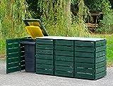4er Mülltonnenbox/Mülltonnenverkleidung 240 L Holz/Edelstahl - Deckel, Tannengrün